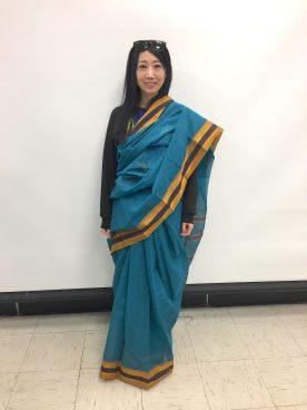 student in Yuni Kawamura's class wearing sari properly