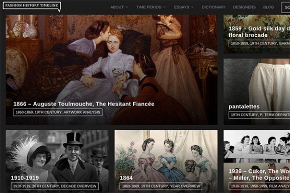 homepage of FIT Fashion History Timeline