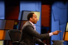 Stephen A. Smith on the set of First Take (Photo by Melissa Rawlins / ESPN Images)