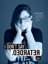 example of a poster from Impactful Language campaign featuring a female student with the word she doesn't say