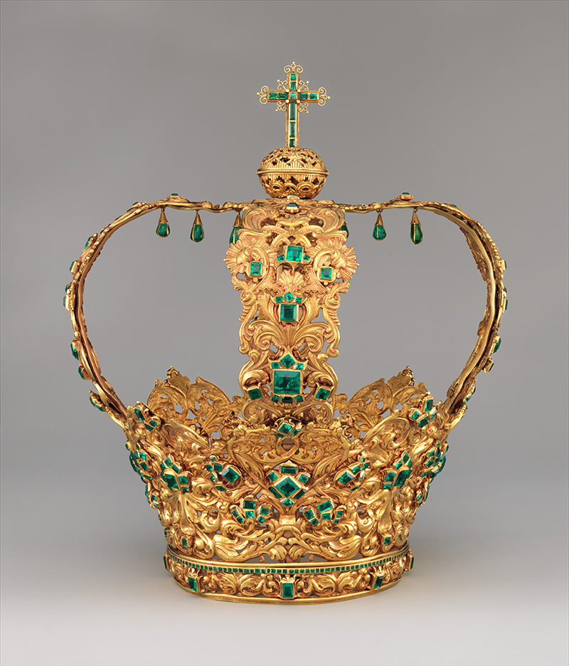 Crown of the Virgin of the Immaculate Conception, known as the Crown of the Andes. Gold, repoussé and chased; emeralds. Made in Columbia. Ca. 1660 (diadem) and ca. 1770 (arches)
