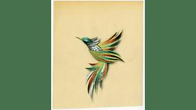 illustration of a green bird brooch