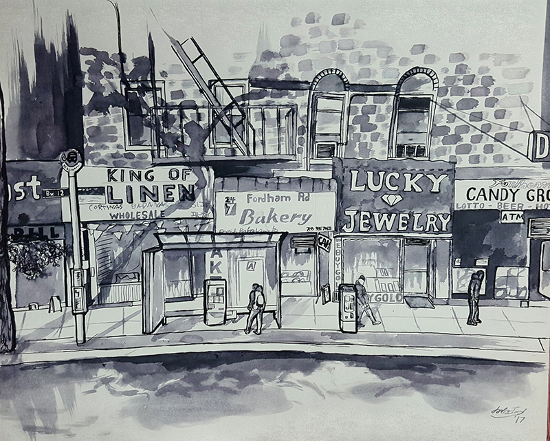 Christopher and the students spent hours sketching Fordham Road in detail.