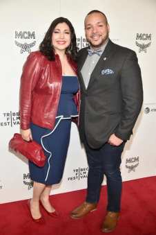 Elena Romero and guest on the Tribeca Film Festival red carpet