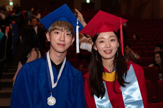 Valedictorians Soon Ho Choi, Fashion Business Management (FIT) and Sieun Kim, Technological Systems Management (Stony Brook).