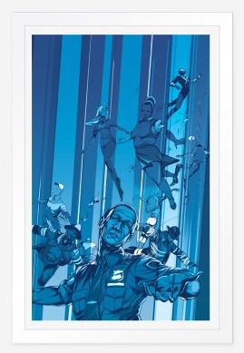 illustration with many figures floating upward