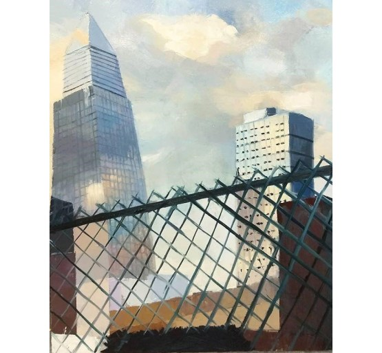 skyscrapers seen through chainlink fence by Yeji Jang