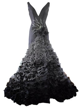 Ruffled gray evening gown