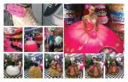 Images of bright pink ball gowns