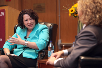The Hon. Sonia M. Sotomayor explains that television shows and films about lawyers affect those within the legal system. Photo by Bruce Gilbert