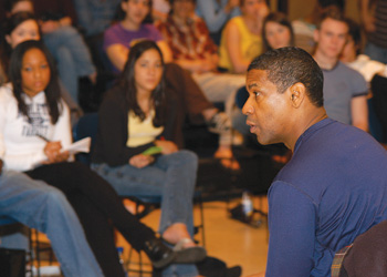 Denzel Washington, FCLC '77, gives a master class at Fordham in 2005. Photo by Jon Roemer