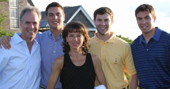 Dr. Adelaide Nardone and her husband, Tom Gleason, with their three sons.