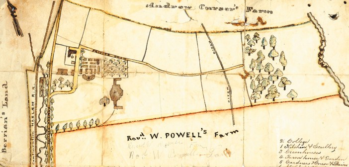 The earliest known map of the Rose Hill campus, circa 1841, shows the main building of the college and the names of the neighboring farms.