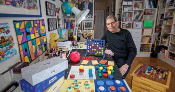 Howard Wexler, inventor of the game Connect 4, in his home studio