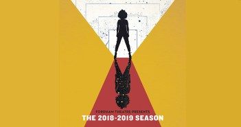 The poster for Fordham Theatre's 2018 mainstage season, featuring a drawing of a woman looking out into the horizon.
