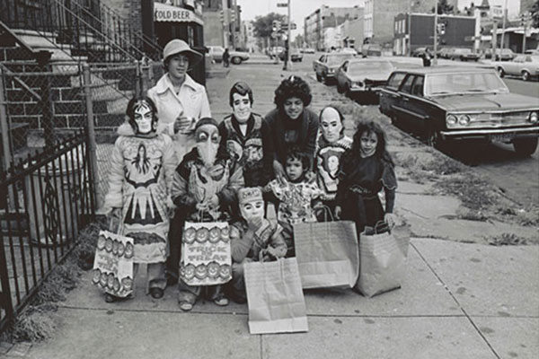 """Group of trick-or-treaters, including """"The Fonz"""" (back row, center)"""