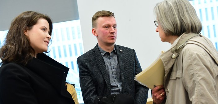 Andrey Shishkov (center) of the Post-Graduate School of the Moscow Patriarchate, with Vera Shevzov (right) of Smith College