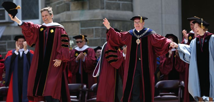 Tim Shriver dances with Father McShane on Keating Terrace