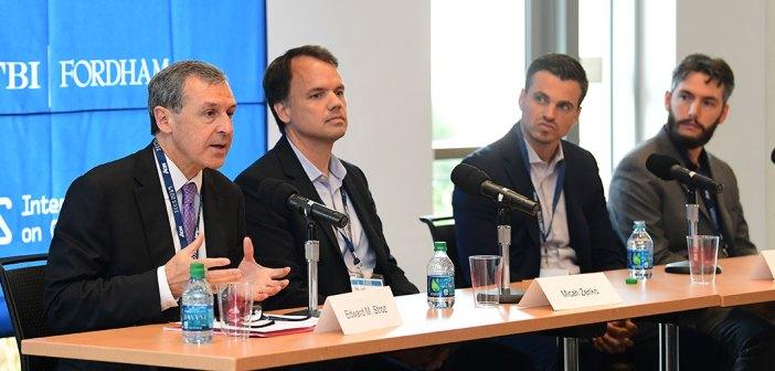 Ed Stroz, Micah Zenko, Patrick Sullivan and Jude Keenan sit at a table