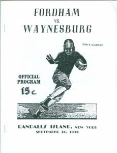 Program cover of the first live televised broadcast of a football game: Fordham versus Waynesburg College, September 30, 1939.