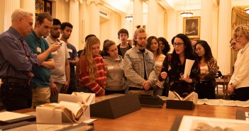 Students view documents at the New York Historical Society