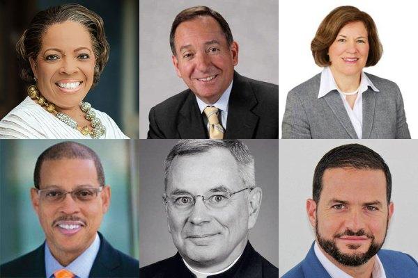 Clockwise from top left: Valerie Rainford; Robert D. Daleo; Mary Anne Sullivan; Gualberto Rodriguez; Thomas J. Regan, S.J.; and Anthony P. Carter.