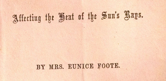 Part of the front cover of physicist Eunice Foote's 1856 paper on global warming