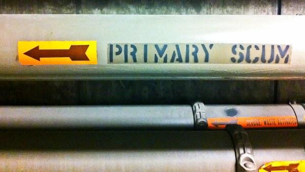 Primary scum pipe, sewage treatment plant