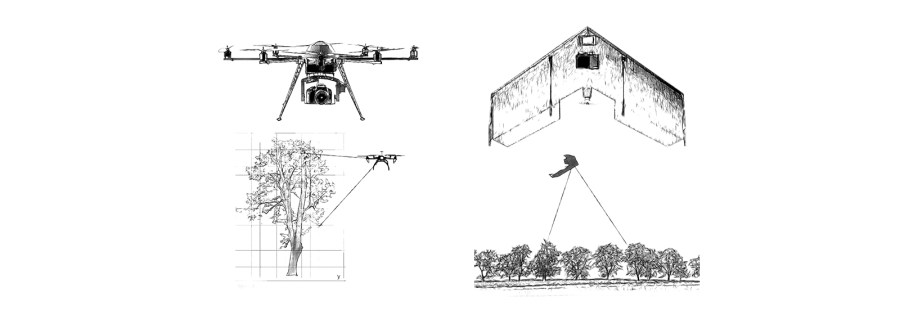 Drones are increasingly becoming an alternative to satellites for remote sensing mapping landscapes, as well as tool for monitoring and seed-planting. Courtesy of OpenForests