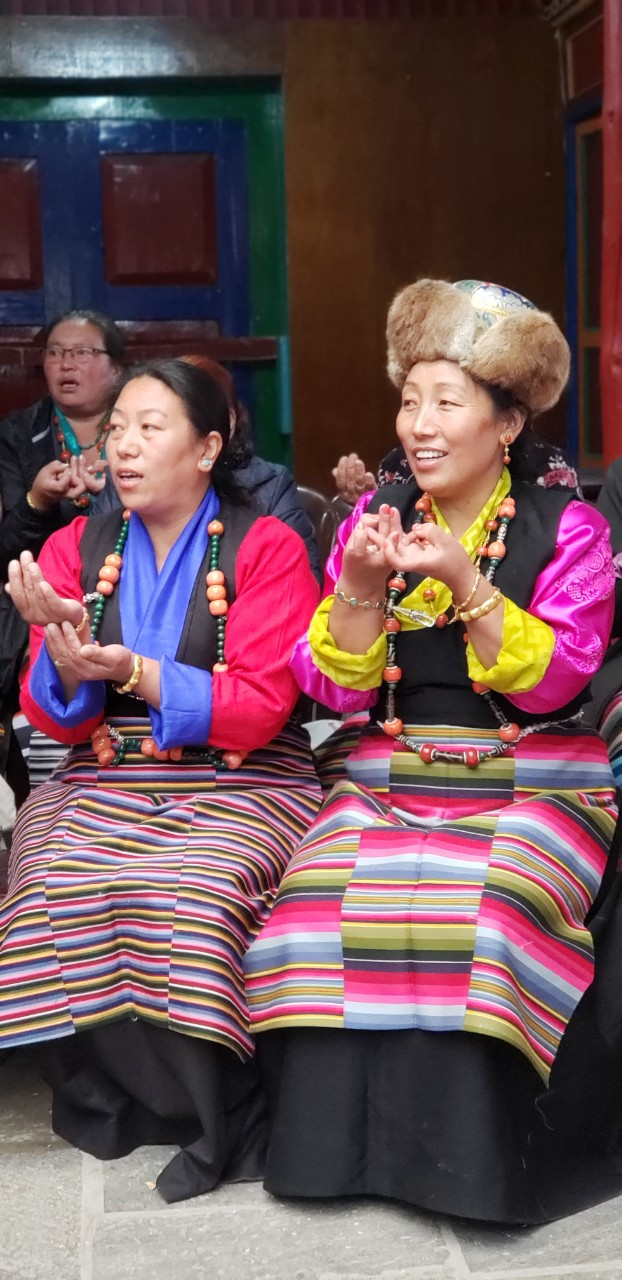 Nima Doma Sherpa (right) and her sister during the Dumjee festival. Courtesy of Nima Doma Sherpa