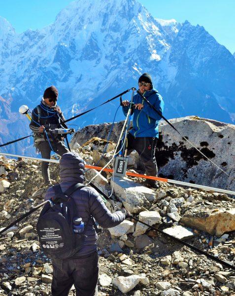 Tenzing conducting field research on Himalayan glaciers. Courtesy of Tenzing Chogyal Sherpa