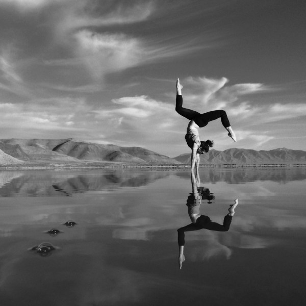 Rees practices yoga in the Bonneville Salt Flats of Utah, U.S. Courtesy of Taylor Rees