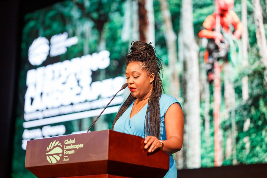 Ghanaian TV show host and actress Michelle Atoh moderated plenaries on restoration at the event. Musah Botchway, Global Landscapes Forum
