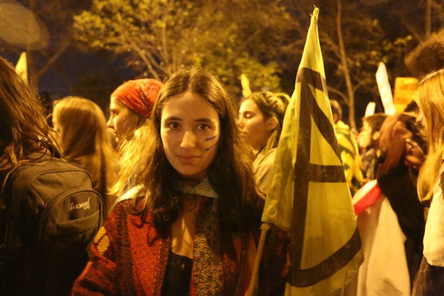 Extinction Rebellion member Flôr Filgueiras at the climate strike. Melissa Kaye Angel, GLF