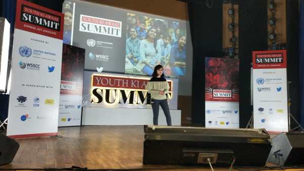 Ridhima Pandey speaks at a summit in Delhi, India, in December 2019. Dinesh Pandey
