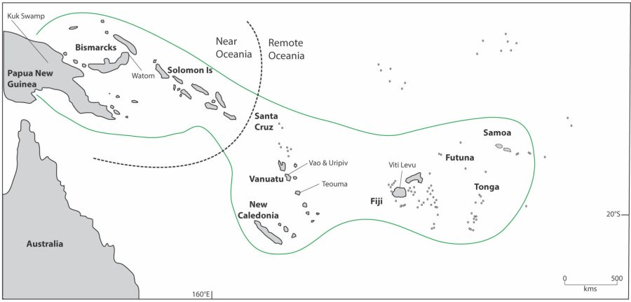 A map shows the distribution of the Lapita culture and associated sites, with the dotted line indicating the boundary between Near and Remote Oceania. Monica Tromp