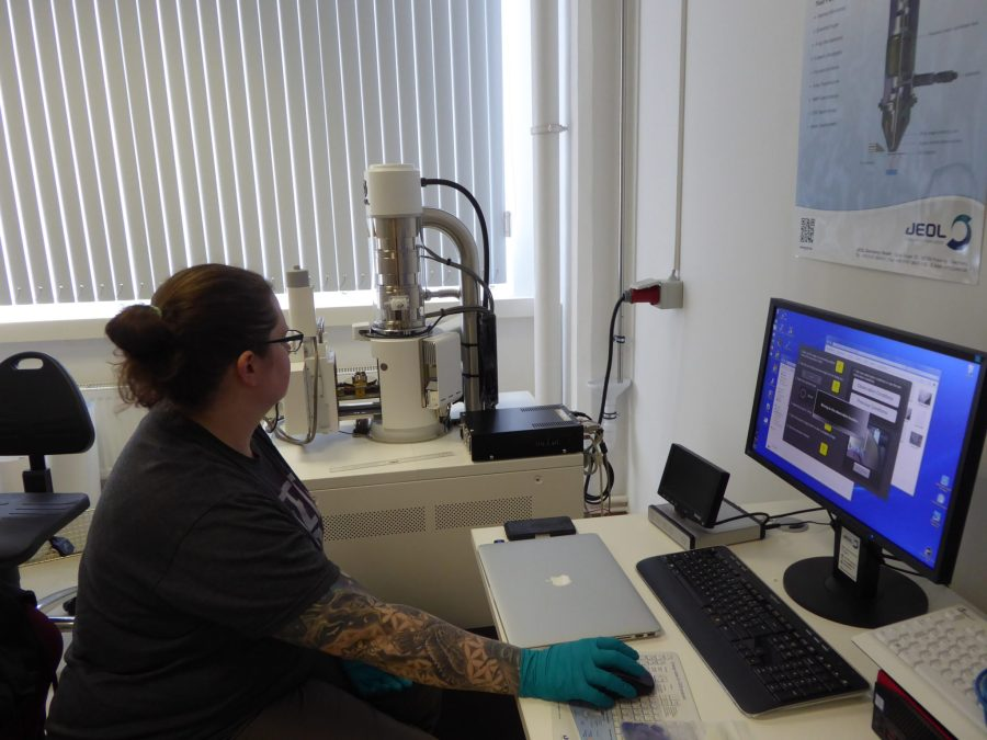 Tromp examines samples in the scanning electron microscope (SEM) located in the Max Planck Science of Human History in Germany. Monica Tromp