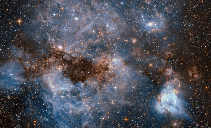Glowing gas and dark dust in the Large Magellanic Cloud galaxy. NASA Goddard Space Flight Center