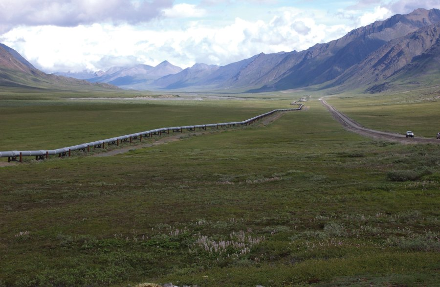 The Trans-Alaska Pipeline, completed in the late 1970s, carries some 1.8 million barrels of oil a day. U.S. Geological Survey