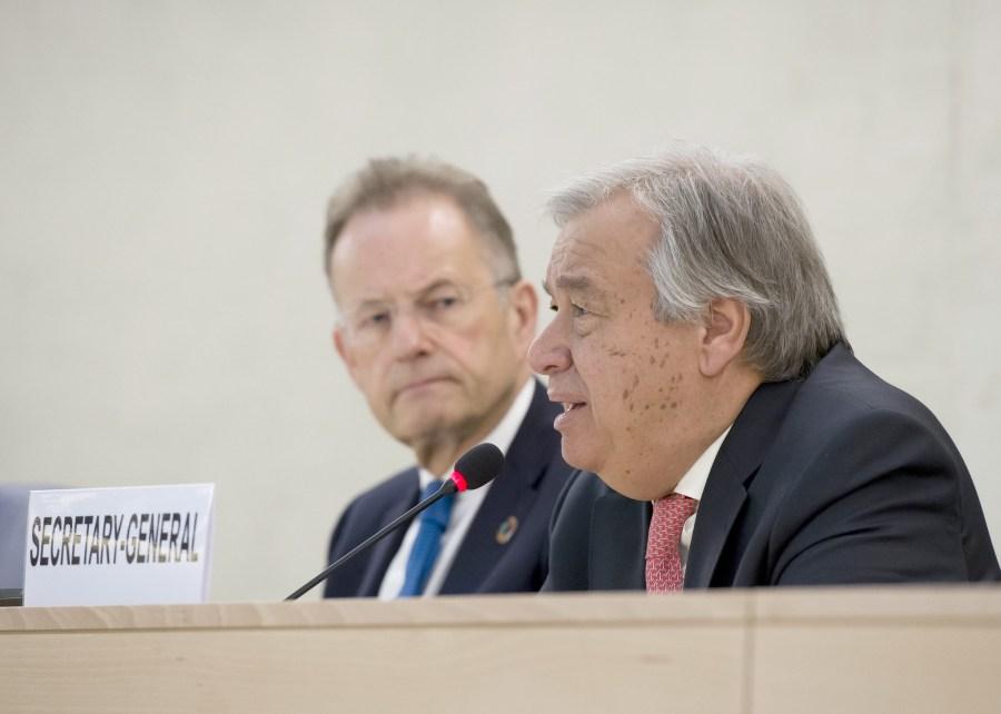 U.N. Secretary-General Antonio Guterres speaking in Geneva in 2017. UN Geneva, Flickr