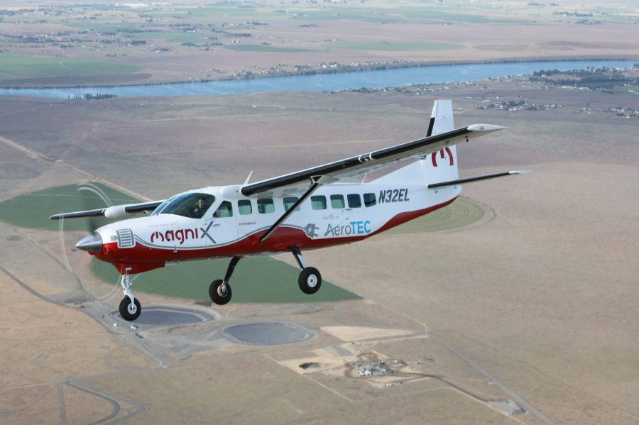 The maiden flight on 28 May 2020 of the electric Cessna Grand Caravan in the U.S. state of Washington, powered by a Magnix propulsion system. Courtesy of Magnix