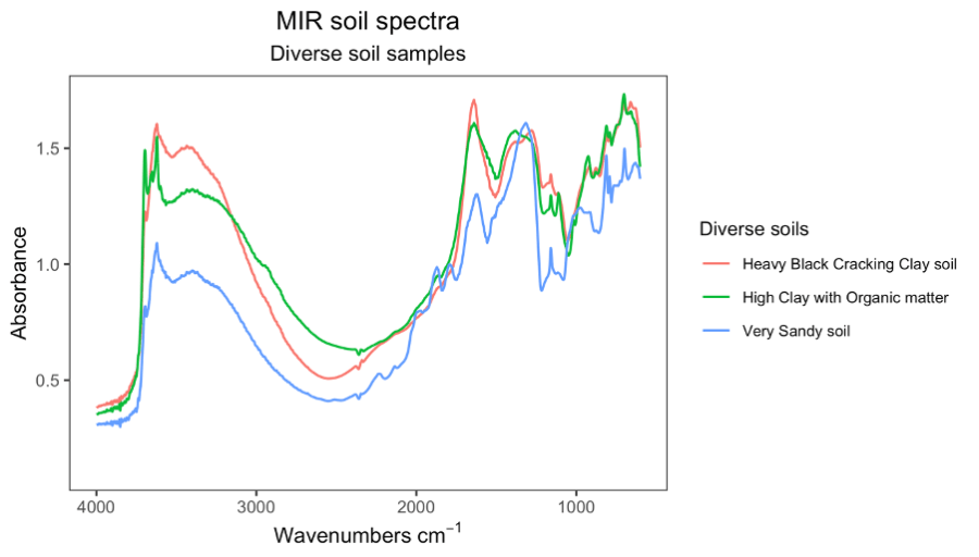 Analyzing the clay makeup of soils, as done in this soil mid infrared spectra graph, tells the capacity of different soils to retain nutrient molecules. The peaking of the heavy black cracking clay soil (red line) on the left, for instance, indicates the soil's high amount of montmorillonite clay, which has both cracking and nutrient retaining properties. Graph courtesy of Keith Shepherd