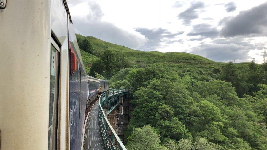 The Caledonian sleeper train takes passengers through the U.K. landscape between London and Scotland. Rail Explorer, Flickr