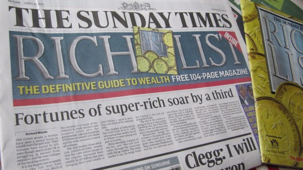 The Sunday Times, one of the Rupert Murdoch-owned News Corp titles targeted by climate activism group Extinction Rebellion. Howard Lake, Flickr
