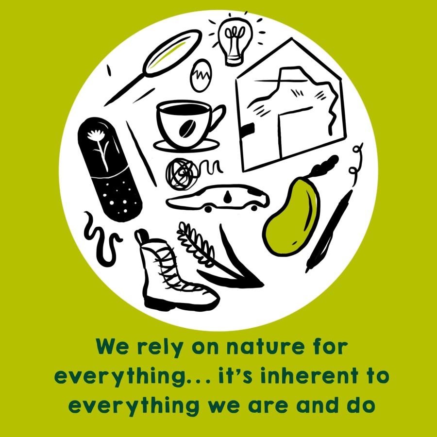 Dependemos de la naturaleza para todo… es inherente a todo lo que somos y hacemos. Ilustración por Josie Ford