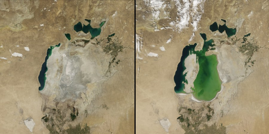 Irrigation for agriculture beginning in the 1960s has reduced Central Asia's Aral Sea to a sliver of its original size. NASA Goddard Space Flight Center, Flickr