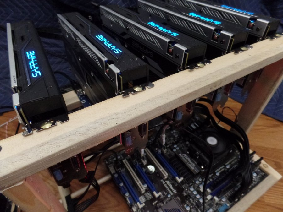 A cryptocurrency mining setup. Courtesy of Crypto360