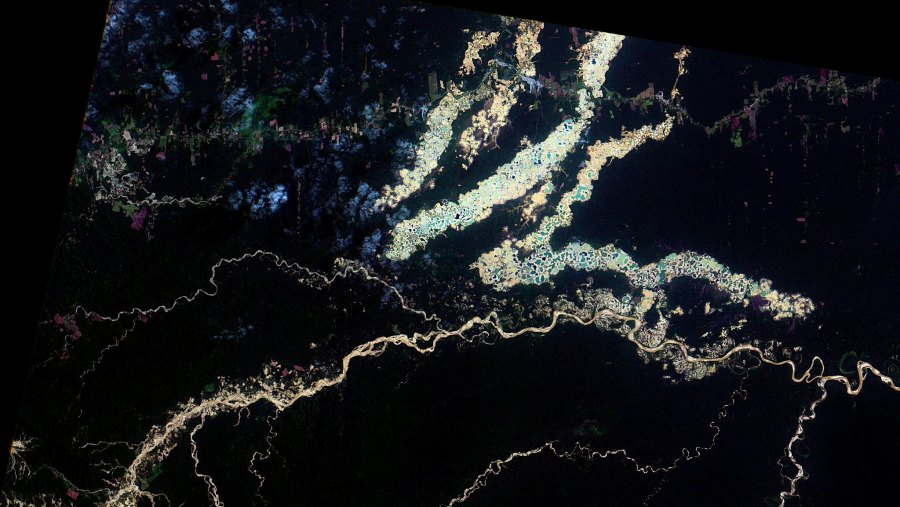 Aerial image showing illegal gold mining at Madre de Dios in Peru. The rainforest is in black, and yellow represents exposed soil or rivers filled with suspended sediment. Oton Barros, Coordenação-Geral de Observação da Terra/INPE