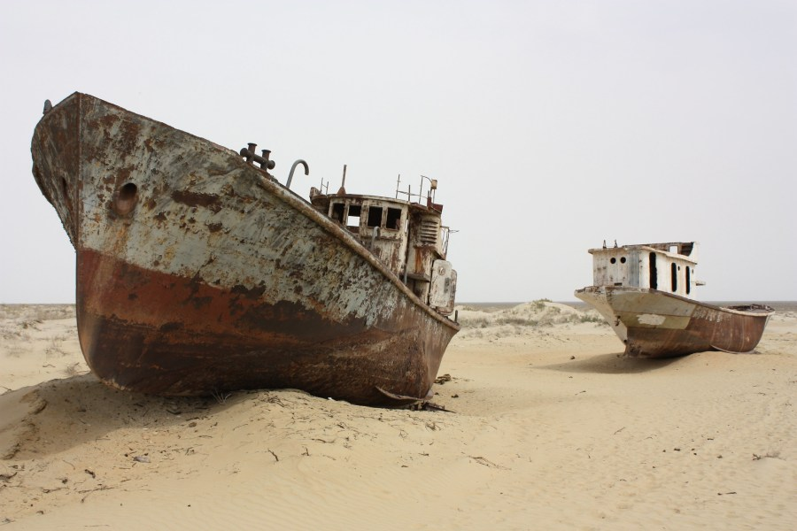 Ship graveyards can be found sitting in what was once the Aral Sea seabed. Arian Zwegers, Flickr