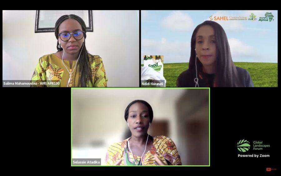 Une session axée sur l'alimentation a réuni les intervenantes suivantes : Salima Mahamoudou, chercheuse à l'Institut des ressources mondiales (WRI), l'entrepreneure nigérianne Ndidi Nwuneli, et la chef ghanéenne Selassie Atadika (de gauche à droite). Forum mondial sur les paysages (GLF).